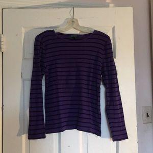 Lauren Ralph Lauren Purple & Black Stripes Tee